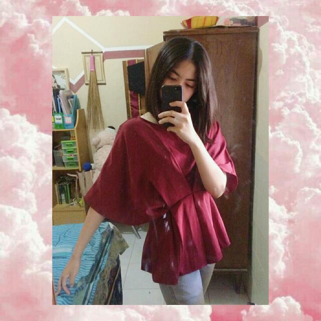 Maroon Kimono Top