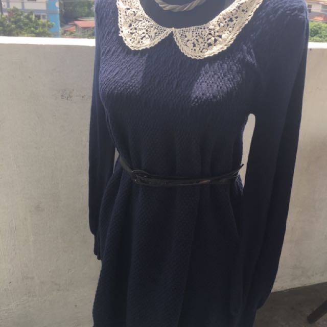 Navy Blue Collared Dress
