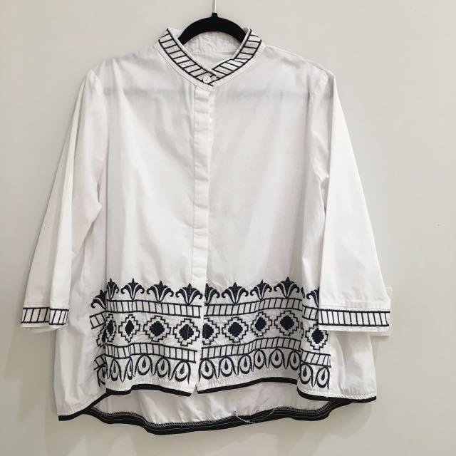 Navy White Shirt