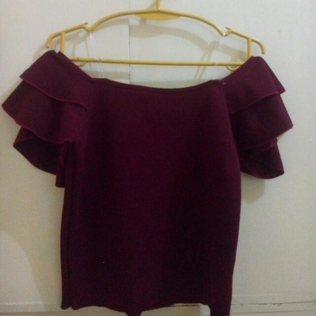 Off Shoulder Blouse (Maroon)