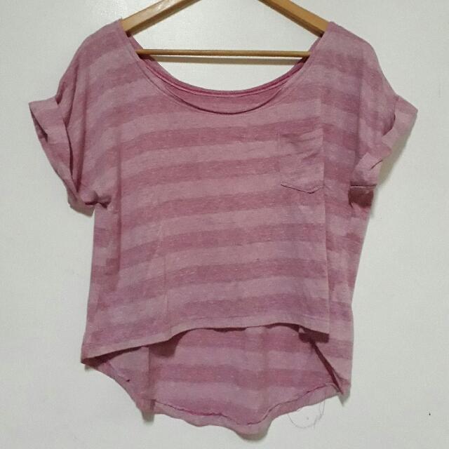 Striped Semi-Cropped Pink Shirt