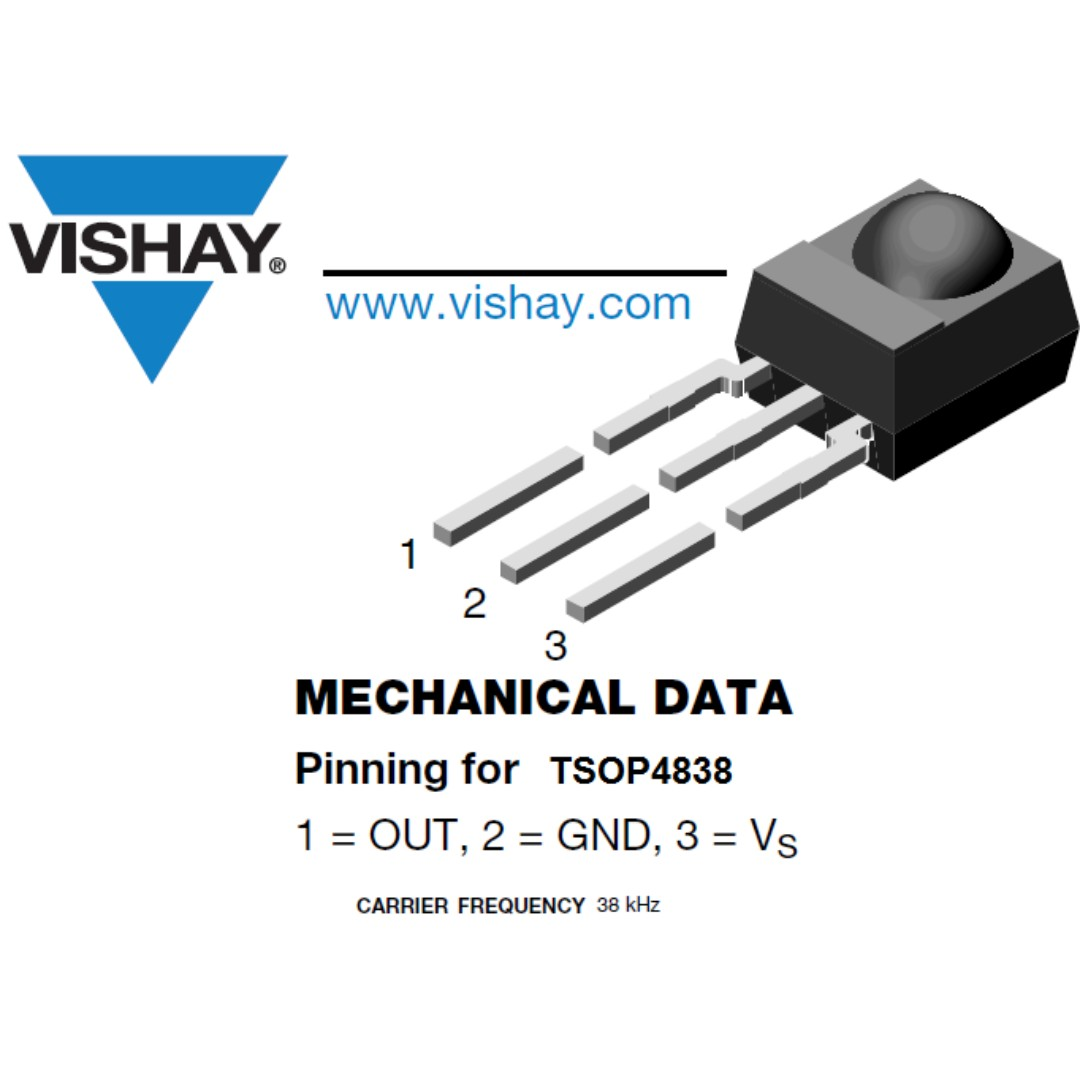 TSOP4838 VISHAY Infrared Receiver Remote Control 38 kHz Raspberry Pi