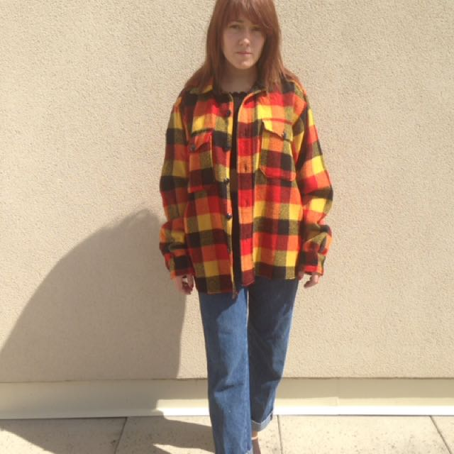 Yellow and Red fall flannel vintage
