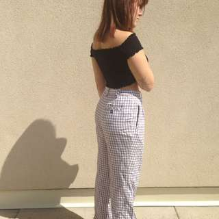 Plaid high waist pants vintage