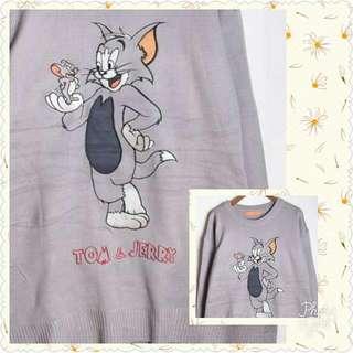 Vintage美式風格卡通湯姆貓與傑利鼠古著個性百搭針織上衣