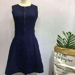 全新深藍色拉鏈裙