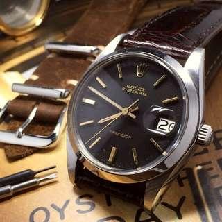 SOLD    Matte Black 34mm Rolex 6694 Oysterdate