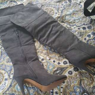 Brand New Grey over knee boots