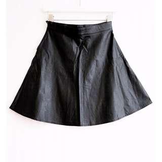 H&M - Black Faux Leather Circle Skirt, Size 4