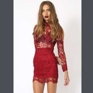 Lioness Dress Lace Red Burgundy