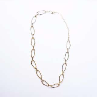 Gold Hammered Metal Chain Necklace
