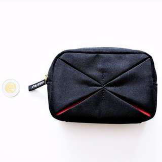 Shiseido - Small Black/Red Makeup / Toiletry Bag