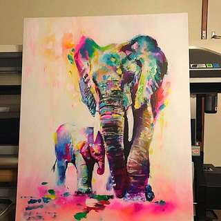 Best seller Canvas , Mother and the baby Elephant Painting photo print Canvas 1200x900mm