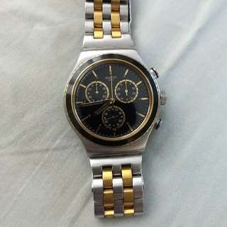 swatch two tone watch