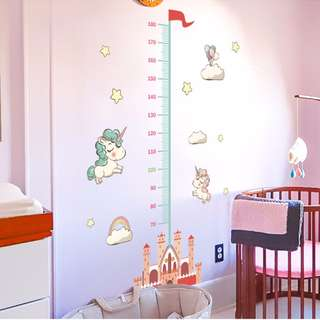 Unicorn Height Measurement Chart for Boys/ Girls/ Kids/ Children Ruler/ Growth/ Wall Decal/ Sticker/ Art Decor/ Mural Wallpaper for Nursery/ Bedroom/ Living/ Home/ Peel and Stick/ Removable