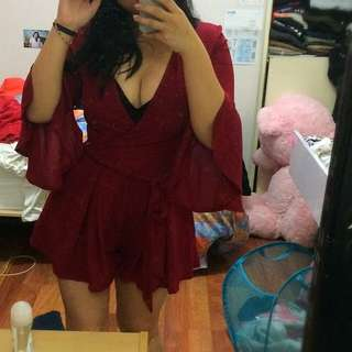 Wine Burgundy Bell Sleeve Playsuit Formal