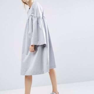 ASOS WHITE grey split sleeve midi dress