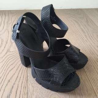 ASOS Snakeskin Print Black Heeled Sandals Size 39 WORN ONCE!
