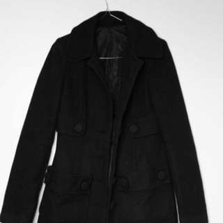 BLACK NY WOOL PEACOAT