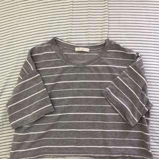 灰條紋短版上衣