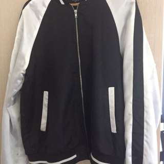 F21 Black and White Silk Bomber Jacket