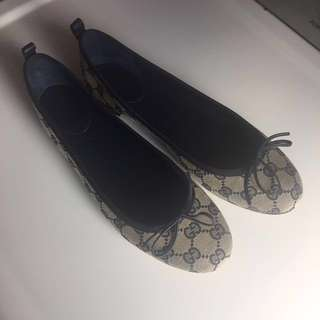 Gucci Ali Canvas Bow Ballet Flats