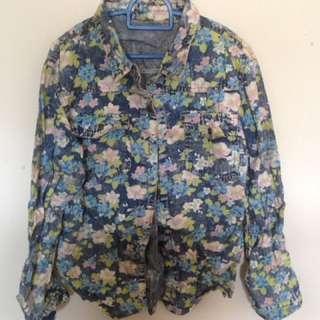 Jacket Jeans Floral in Blue