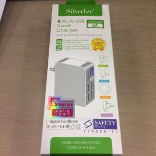 全新 正貨  Silvertec Usb 四頭旅行充電器