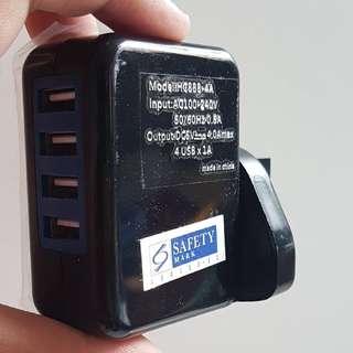 USB 3 pin plug (4x 1A)