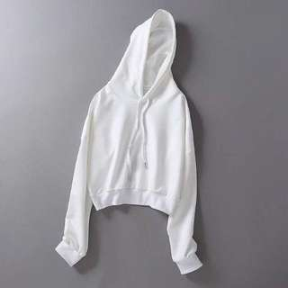 Plain White Cropped Hoodie