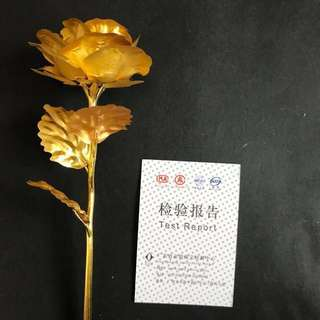 Metal plated gold rose