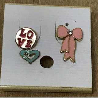 耳環 earrings 心形 蝴蝶結