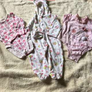 3 pcs Onesies for Baby Girl (0-3 Months)