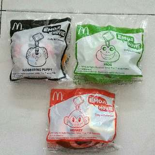 Brand new Sealed In Plastic Bag,  Mcdonald Happy Meal plushies toys, 2017, Frog, Monkey and slobbering puppy from The Emoji Movie, bundle deal discounts.