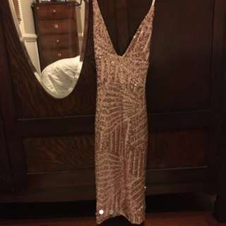 Rose Gold Sequin Dress Xs 6 8
