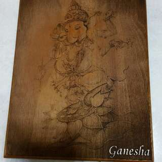 Beautiful Ganesha 25×20cm solid wood.