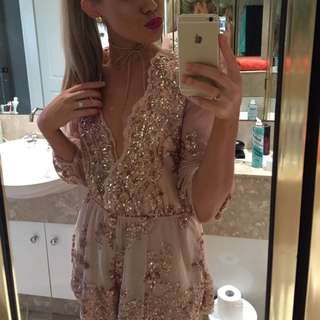 Rose Gold Sequin Playsuit 6 8