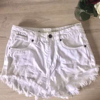 Denim shorts, white