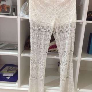 H&M White long lace pants size 6