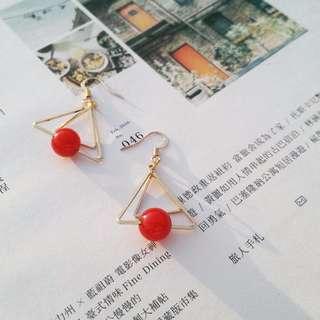 【飾品類半價】紅色珠珠三角形耳環