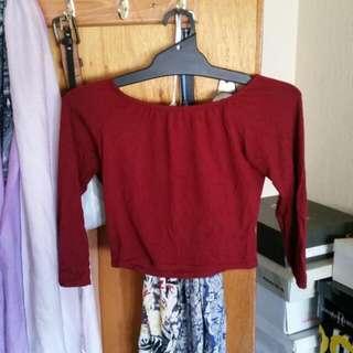 Red Off Shoulder Long Sleeve Top