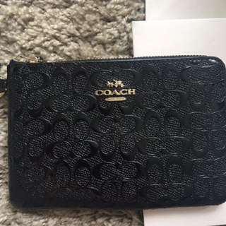 Fast Deal @ $50 Authentic Embossed Patent Coach Black Wristlet