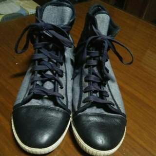 hicut navy blue leather combi gray color shoes