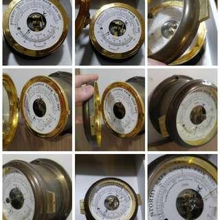 舊 船上乾濕溫度計 銅製 儀器 收藏多時 保存良好 運作正常