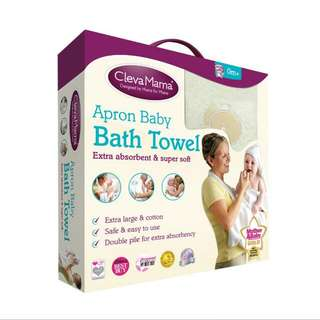 Clevemama Apron Baby Bath Towel in White