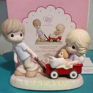 Precious Moments Couple With Red Wagon Figurine : Actions Speak Louder Than Words