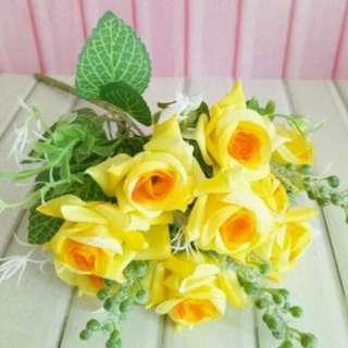 buket bunga plastik artificial palsu mawar dekorasi rumah shabby chic