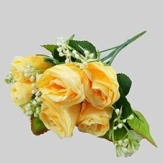 buket bunga plastik artificial palsu bunga mawar tangkai