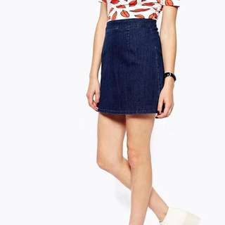 Blue Denim Skirt With Showing Back Zip