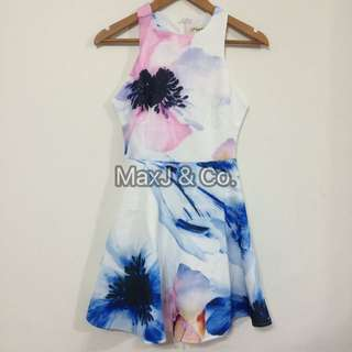 Waterprint Abstract Floral Dress
